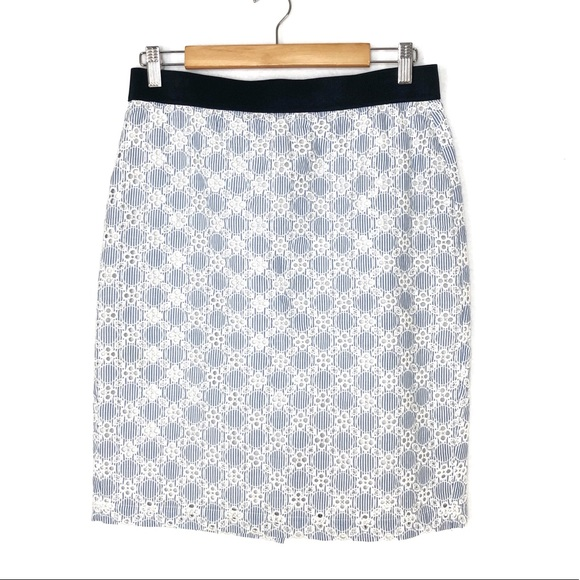 a4fb2509a0 Ann Taylor Skirts | Blue White Striped Embroidered Skirt 8 | Poshmark